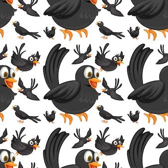 Bezszwowe czarne ptaki latające