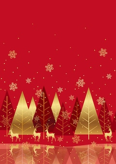 Bezszwowe czerwone tło zimowego lasu z miejsca na tekst. powtarzalne w poziomie.