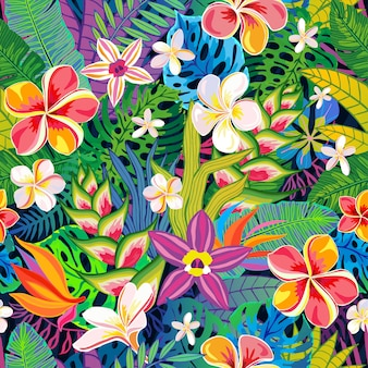 Bezszwowe deseniowe abstrakcjonistyczne tropikalne rośliny, kwiaty, liście. elementy wystroju. dzikie kolorowe dżungla kwiatowy. rainforest sztuka tło. ilustracja