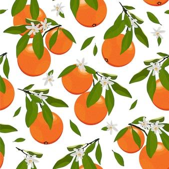 Bezszwowe deseniowe pomarańczowe owoc z kwiatami i liśćmi