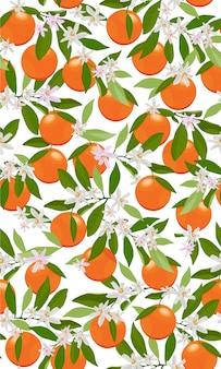 Bezszwowe deseniowe pomarańczowe owoc z kwiatami