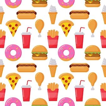 Bezszwowe deseniowe śliczne śmieszne fasta food kawaii stylu ikony odizolowywać na bielu