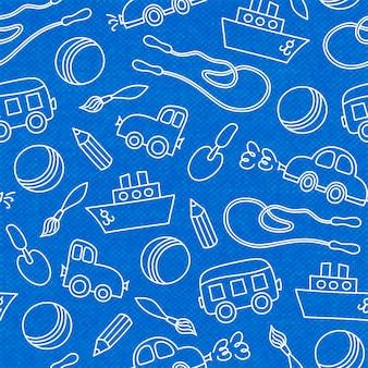 Bezszwowe doodle dzieci zabawki miarka wiadro i piłka