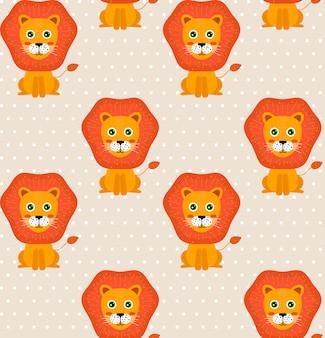 Bezszwowe dziecko wzór z lwami i kropkami. tło dla dzieci.