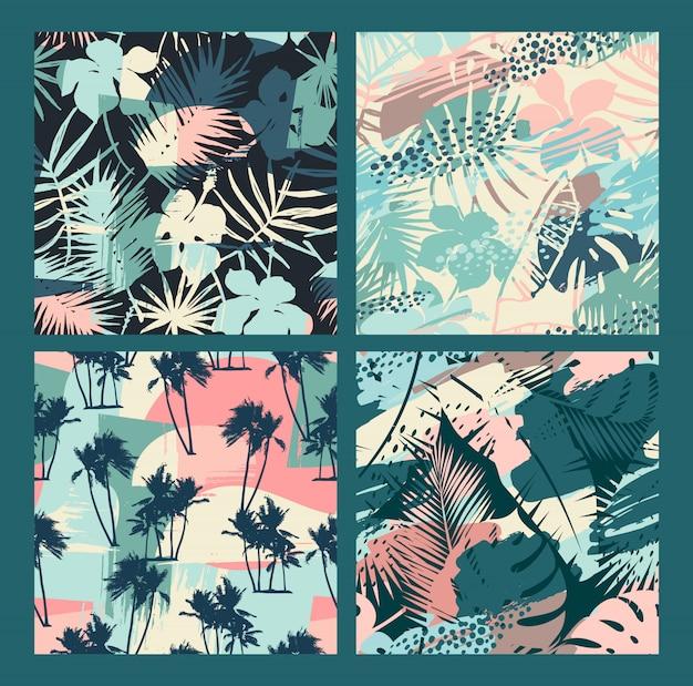 Bezszwowe egzotyczne wzory z roślinami tropikalnymi