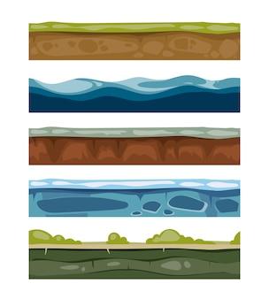 Bezszwowe elementy krajobrazu. ziemia, lód, woda, powierzchnie trawiaste do gier komputerowych. zestaw warstw fo