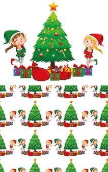 Bezszwowe elfy z motywem świątecznym