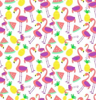 Bezszwowe flamingo wzór