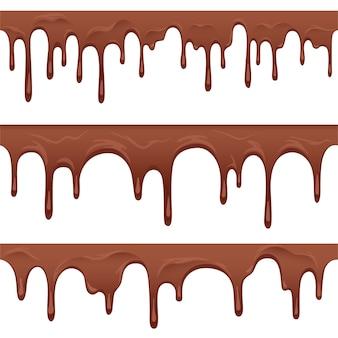 Bezszwowe granice czekolady. płynące kakao z kroplami i kroplami jako dekoracja do ciast i wypieków. na białym tle.