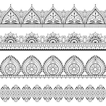 Bezszwowe granice mehndi. orientalne wzory henny. indyjskie ramki kwiatowe