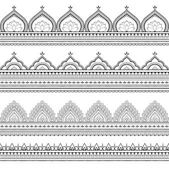 Bezszwowe granice tupoczą. ozdoba w etnicznym stylu orientalnym, indyjskim. doodle ornament. ilustracja rysować ręka zarys.
