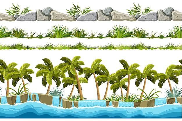 Bezszwowe granice z kamienia, chodników i trawy wodospadowej