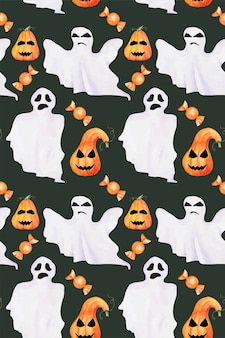 Bezszwowe halloween ręcznie rysowane wzór akwarela. duchy grozy, dynie z twarzą i cukierki