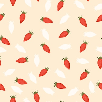 Bezszwowe jagoda wzór z truskawkami na beżowym tle w płaskiej kreskówce i modnym stylu