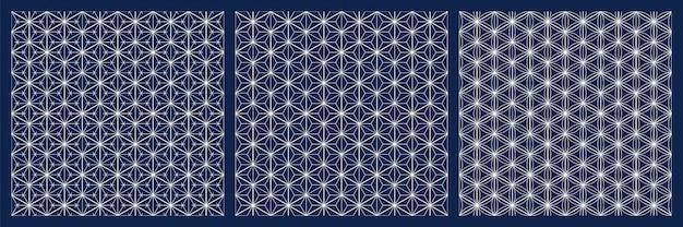 Bezszwowe japoński wzór shoji kumiko. diamond siatki. białe linie na niebieskim tle.