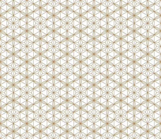 Bezszwowe japoński wzór shoji kumiko w kolorze złotym.