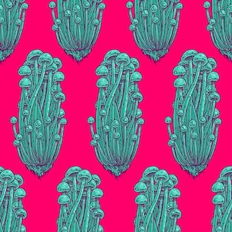 Bezszwowe jasny kolor tła grzybów psychodelicznych