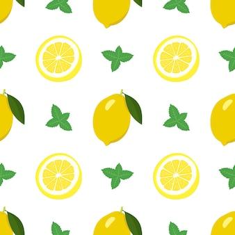 Bezszwowe jasny wiosenno-letni wzór z cytryną i plastrami i liśćmi mięty zestaw owoców cytrusowych