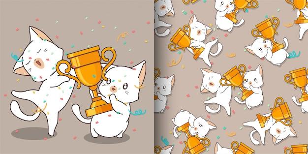 Bezszwowe kawaii koty trzymają wzór pucharu zwycięzcy