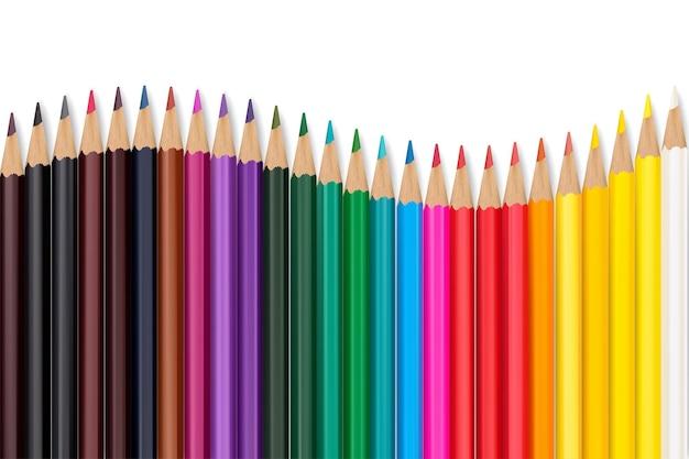 Bezszwowe kolorowe kredki wiersz z falą na dolnej stronie. ilustracja wektorowa