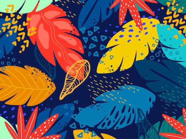 Bezszwowe kolorowe liście wzór.