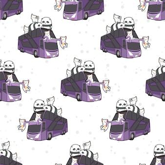 Bezszwowe koty i pandy kawaii na wzór autobusu