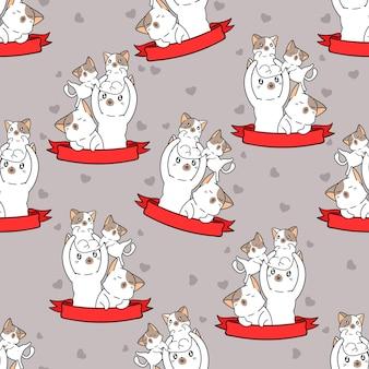 Bezszwowe koty i wzór z czerwoną wstążką