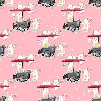 Bezszwowe koty kawaii i wzór przenośnego stoiska
