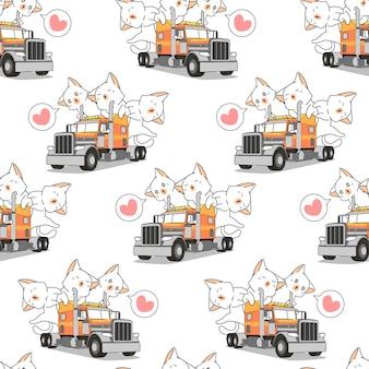 Bezszwowe koty kawaii na wzorze ciężarówki