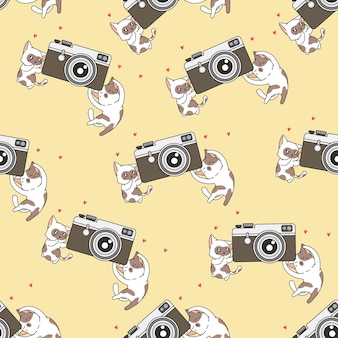 Bezszwowe koty z wzorem kamery