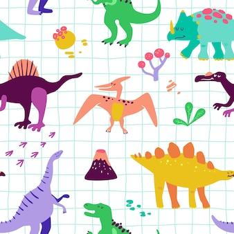 Bezszwowe kreskówka wzór dinozaurów. tekstura tło wektor dziecko dino. tło do druku tekstylnego, tkaniny, tapety