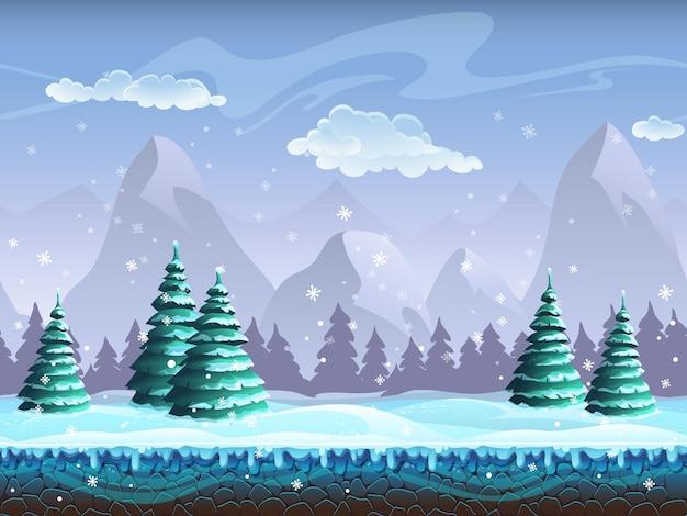 Bezszwowe kreskówka zimowy krajobraz niekończący się lód, wzgórza śniegu, góry, chmury, niebo