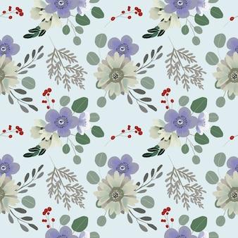 Bezszwowe kwiatki z liści eukaliptusa i anemon