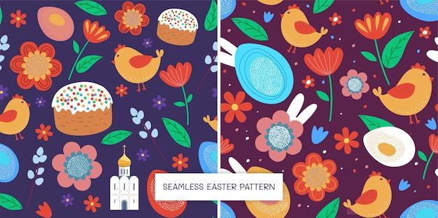 Bezszwowe kwiatowe wzory wielkanocne z kościołem i ciastem i pisklętami