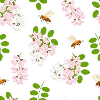 Bezszwowe kwiatowy z kwitnącą akacją i pszczołami.