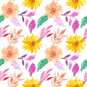 Bezszwowe kwiaty akwarela wzór