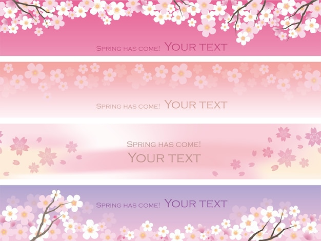Bezszwowe kwiaty wiśni ustawione w przestrzeni tekstowej powtarzalne w poziomie