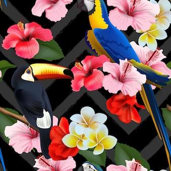 Bezszwowe lato tropikalny tło z tropikalnych kwiatów i kolorowe papugi. ilustracja wektorowa.