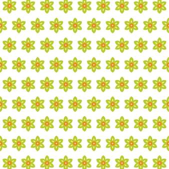Bezszwowe małe zielone pole kwiatowe na białym tle wektoru