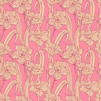 Bezszwowe narcyz kwiaty ręcznie rysowane wzór. letni kwiatowy kwiat