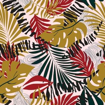 Bezszwowe natura wzór ogrodnictwo abstrakcyjne kwiaty tropikalne kształty i elementy białe tło