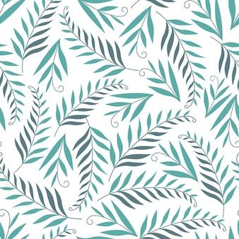 Bezszwowe natura wzór ogrodnictwo abstrakcyjne liście rysunek na białym tle wyciągnąć rękę