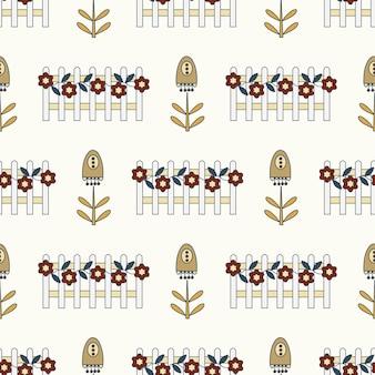 Bezszwowe natura wzór ogrodnictwo kwiaty rysunek na białym tle streszczenie