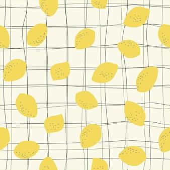 Bezszwowe naturalny wzór cytryny w kratkę wzór białe tło rysunek odręczny