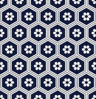 Bezszwowe niebieski wzór wielokąt orientalny sześciokąt rama okrągły kwiat