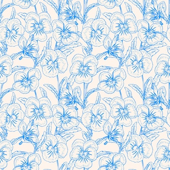 Bezszwowe niebieskie tło z ładnymi bratkami. ręcznie rysowana ilustracja