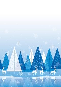 Bezszwowe niebieskie tło zimowego lasu z miejsca na tekst. powtarzalne w poziomie.