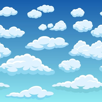Bezszwowe niebo z teksturą tła białych chmur
