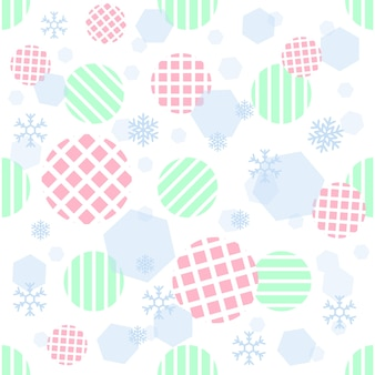 Bezszwowe pastelowe kropki z geometrycznych i wzór snowflake na pasku tle