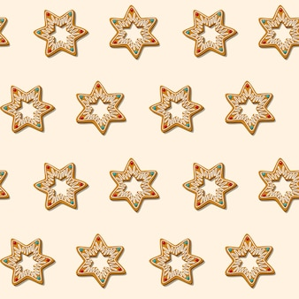 Bezszwowe pierniki świąteczne ciasteczka gwiazda wzór białe tło